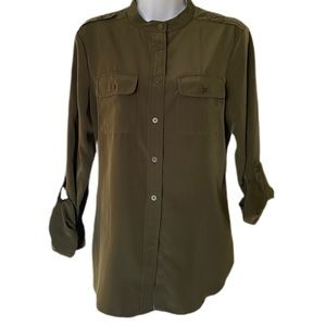 Jones New York khaki blouse button down shirt